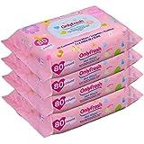 Baby Wipes, 320 Count, Hypoallergenic,Sensitive Skin, 4 Flip-Top Packs - Girls