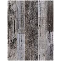 "HaokHome 92048-1 Peel and Stick Wood Plank Wallpaper Shiplap 17.7""x 9.8ft Grey Vinyl Self Adhesive Contact Paper Decorative"