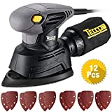 TECCPO Mouse Detail Sander, 1/4' 1.1 Amp/14,000 OPM Sander, 12Pcs Sandpapers, Recyclable Dust Bag, Dust Collection System, Ideal for Sanding-TAMS22P