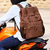 WOWBOX Canvas Backpack Vintage Leather 17.3 Inch