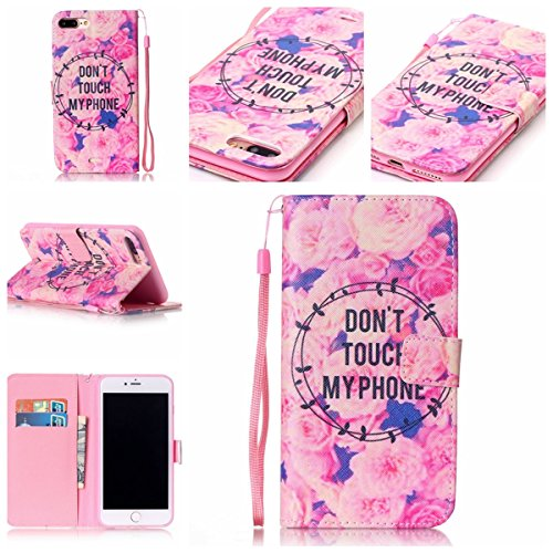iPhone 7 Plus Case,Gift_Source [Card Slots] [Kickstand Feature] Colorful Cute PU Leather Wallet Case Flip Folio Case with Wrist Strap for Apple iPhone 7 Plus [Flowers Don't Touch my Phone]