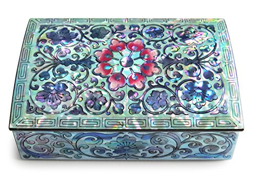 Antique Trinket Box - MADDesign Jewelry Trinket Box Mother of Pearl Inlay Lacquered Flower Pink