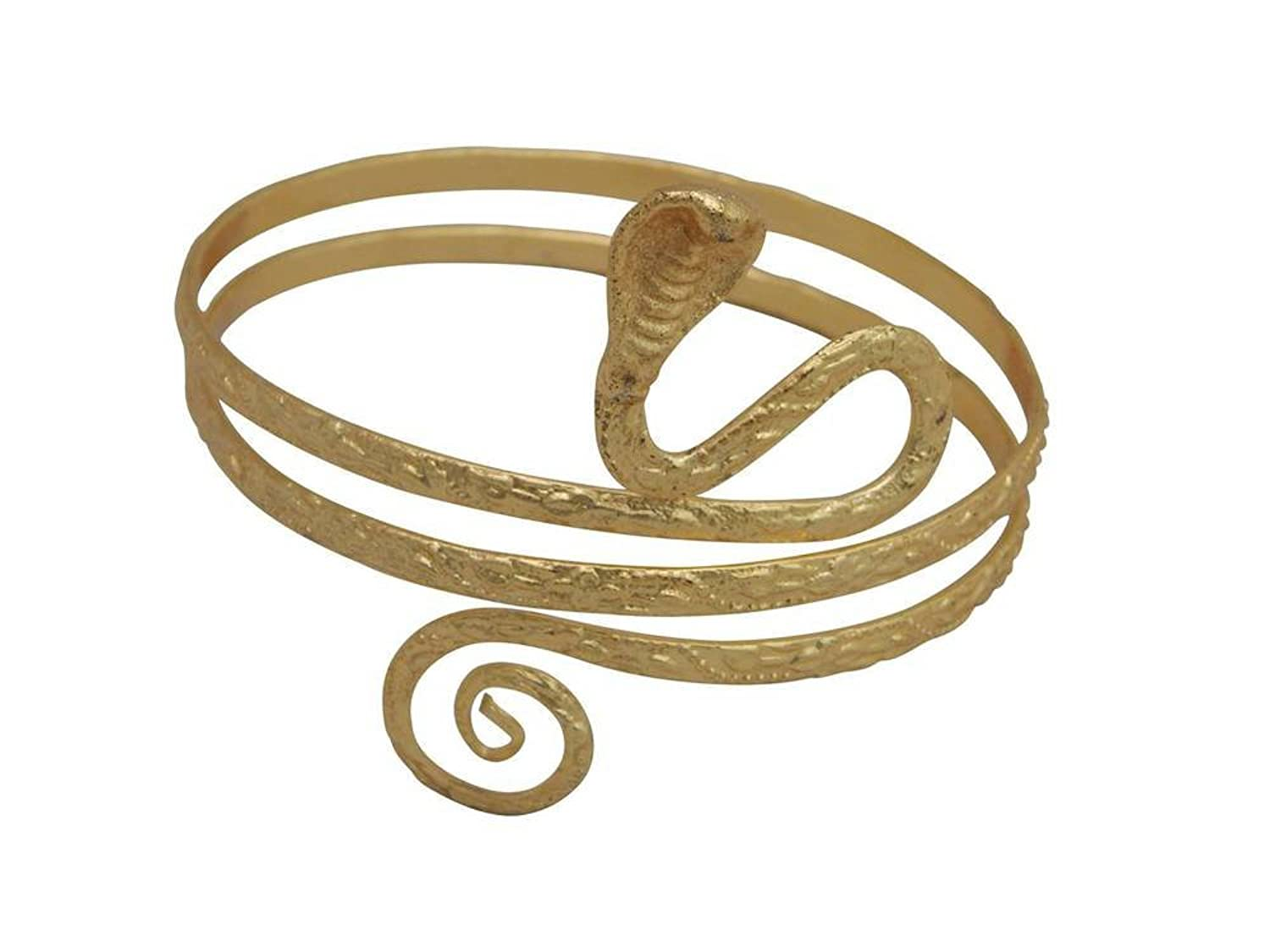 Amazoncom Gold Tone Metal Upper Arm Snake Bracelet Adjustable