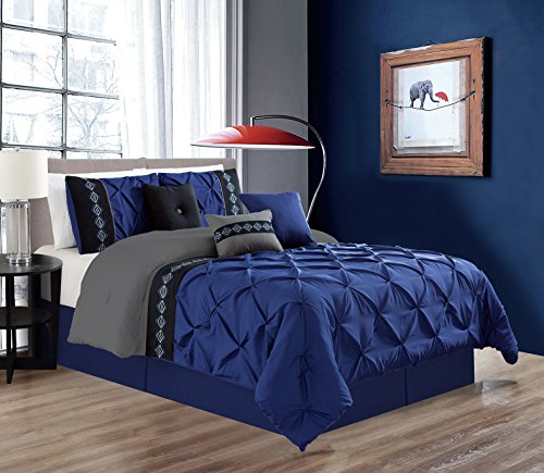 7 Pieces QUEEN size Navy Blue / Grey / Black Double-Needle Stitch Pinch Pleat All-Season Bedding-Goose Down Alternative Embroidered Comforter - Blue Grey Green