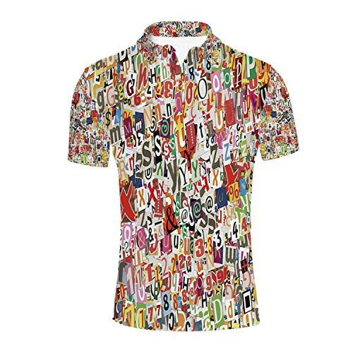 Old Newspaper Decor Durable Polo Shirt,Various Kinds of Newpaper Magazine Letters Cutouts Alphabet Collection Decorative for Men,S