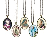 Bling Bling Glass Cabochon Necklace Holy Madonna Virgin Mary Pattern of Pendant Inspired Necklace with Long Bronze Chain 23 inches Handmade for Gifts 5pcs (Holy 4)