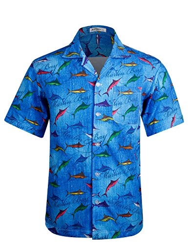 APTRO Men's Hawaiian Shirt Short Sleeve Summer Beach, used for sale  Delivered anywhere in USA