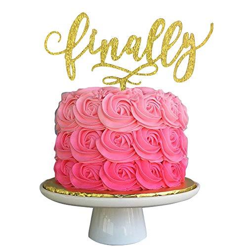 Finally Gold Glitter Acrylic Cake Topper Celebrate Mr & Mrs Wedding Bride & Groom Love Party Ideas Decorations