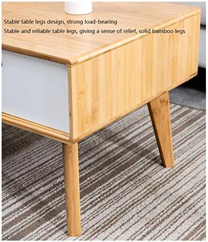 Klassiek Jixi Salontafel Nordic rechthoekige bamboe salontafel met dubbele lade bijzettafel voor woonkamer-sofa theetafel woonkamertafel gn5rYl1