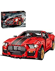 Technic Sportwagen Model voor Ford Mustang Shelby GT500, 3386 Onderdelen Supercar Bouwstenen Auto Racing Car Model Kit, Racing Car Terminal Blokken Compatibel met Lego Technic