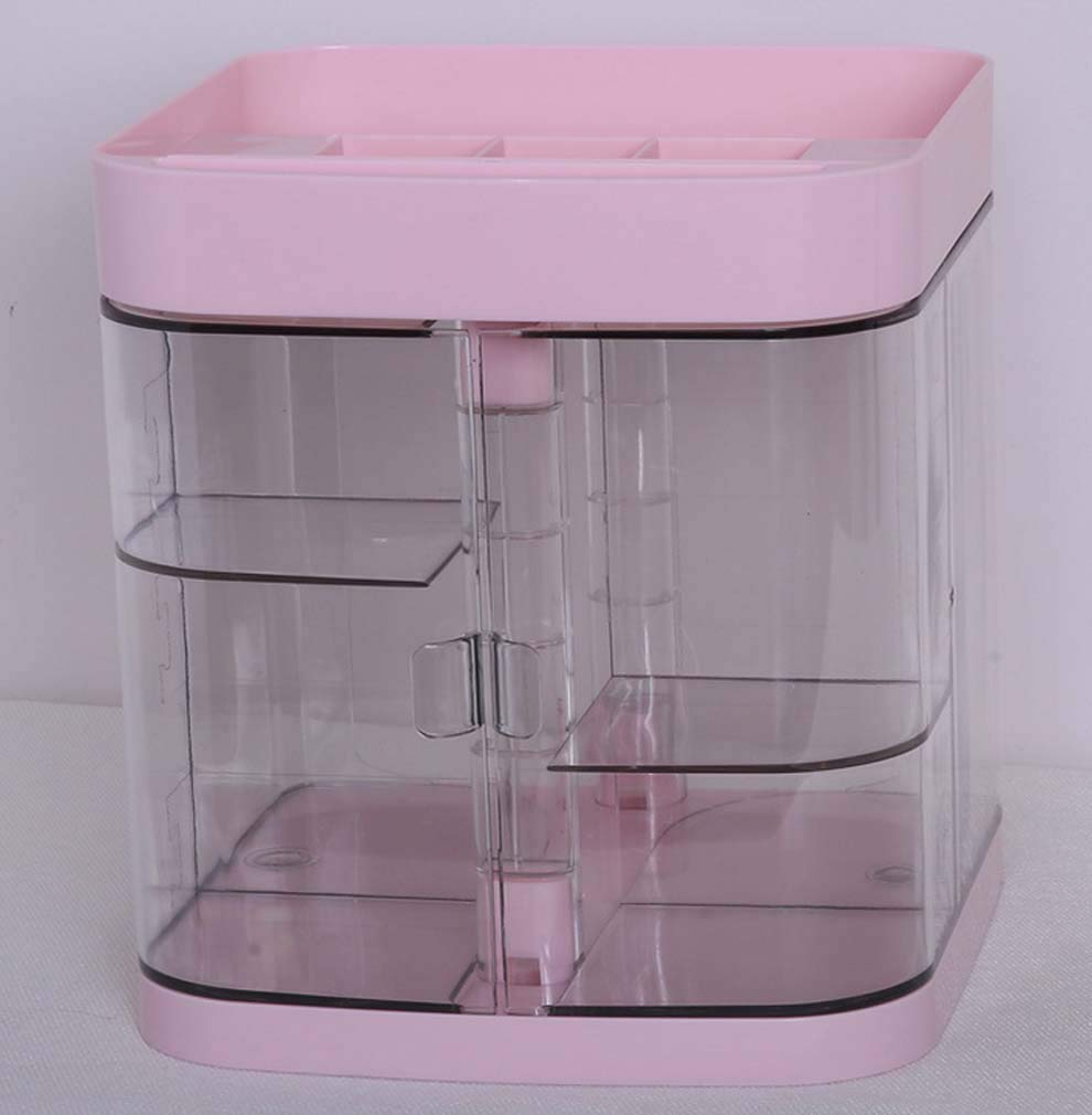 Cosmetic Storage Box, Drawer Dustproof Jewelry Cosmetic Display Stand, Large Capacity Makeup Manager, Dressing Table, Bedroom, Bathroom,Pink
