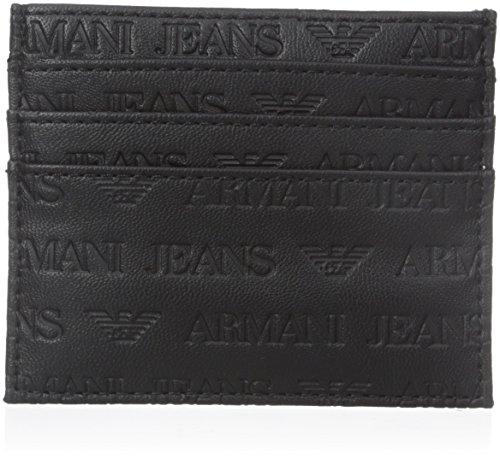 Armani Jeans Men's Embossed Logo Card Holder, Black, One Size