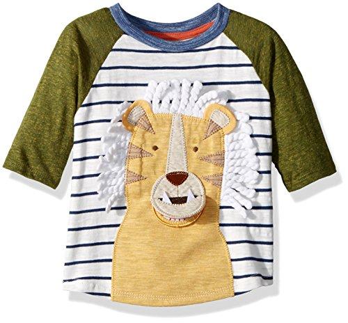 Mud Pie Baby Boys Lion Safari Stripe Long Sleeve Raglan T-Shirt, Yellow, (Felt Applique Tee)