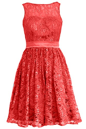 MACloth Women Straps Lace Short Bridesmaid Dress Cocktail Party Formal Gown Rojo