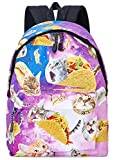 Leapparel Unisex Galaxy Space Cat Eat Pizza Durable Travel Hiking Backpack Daypack