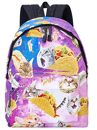 - Leapparel 3D Funny Unique Backpacks Animal Print Yellow Red Green Pancake Taco Cat with Blue Purple Starry Galaxy Space Waterproof Sturdy Shoulder School Book Bags for Sports Travel Hiking College