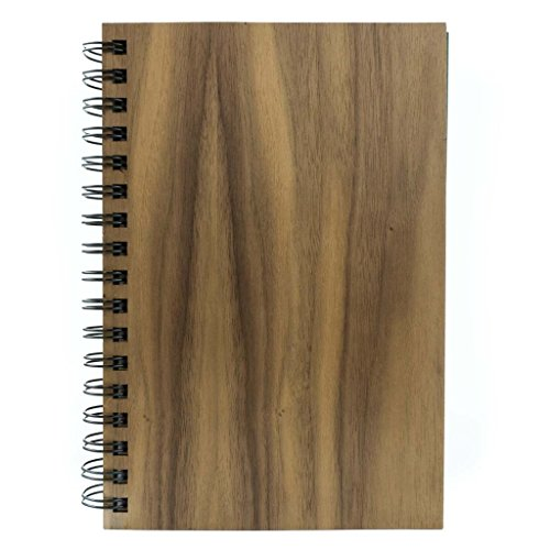 WOODCHUCK Classic Spiral Notebook (Walnut), Premium Real Wood, 6
