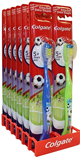 Colgate Kids Toothbrush for 5+ Years Extra Soft Bristles Soccer Princess (12 Pack, - Size Determine Frame