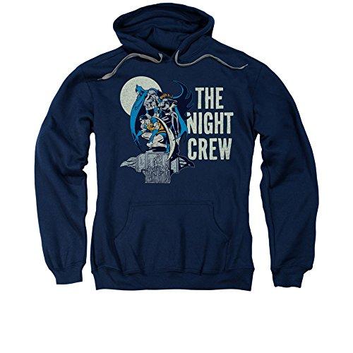 DC Comics Batman Robin & Batgirl Night Crew Adult Pull-Over Hoodie Blue ()
