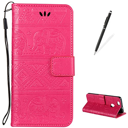 for Huawei NOVA Flip Case [Free Touch Stylus Pen],KaseHom PU Leather Retro Elephant Design Folio Magnetic Slim Wallet Cover [Card Slot] Kickstand Durable Holster for Huawei NOVA - Rose Red