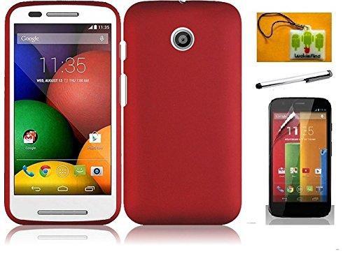LF 3 In 1 Bundle for - Red Hard Case Cover, Stylus Pen & Wiper For Motorola Moto E (XT1021 / XT1022 / XT1025) (Hard Red) ()