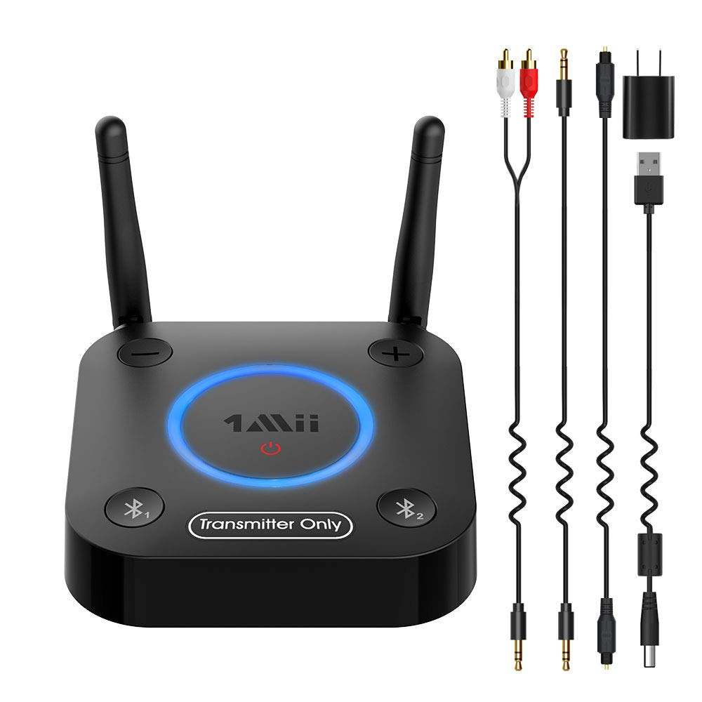 1Mii B06TX Bluetooth 5.0 Transmitter for TV to Wireless Headphone / Speaker, Bluetooth Adapter for TV w/ Volume Control, AUX/RCA/Optical/Coaxial Audio Input, Plug n Play, AptX Low Latency