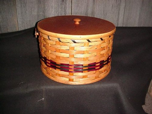 Round Double Pie Carrier Basket with Tray and Lid Made in the USA. Collectible Handmade Primitive Decor, Carry Your Pies in Style to Thanksgiving, Eas…