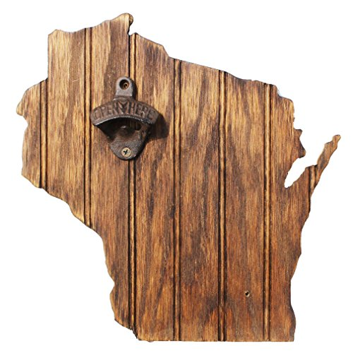 Grace Graffiti Wisconsin State Bottle Opener with Chestnut Stain