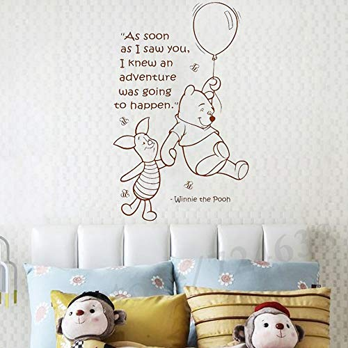 BUCKOO Hot Winnie The Pooh Quote Wall Decal Girls Boys Baby Room Nursery Vinyl Sticker Quotes Wall Decal Kids Room Wall Art Stickers DIY Home Decor Wall Decorations,Black/Coffee