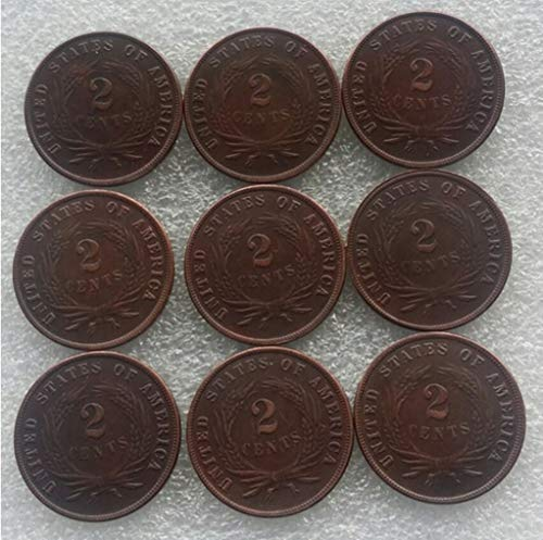 Rare Antique USA United States Full Set 1865-1873 9pcs Two Cents Coin