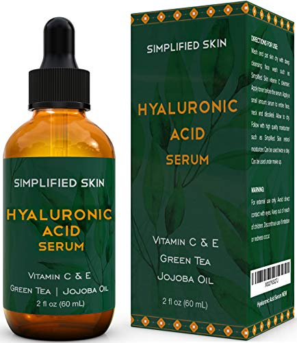 Hyaluronic Acid Serum for Face & Eyes (2 oz) with Vitamin C, E & Green Tea for Anti-Aging, Moisturizing, Antioxidant…