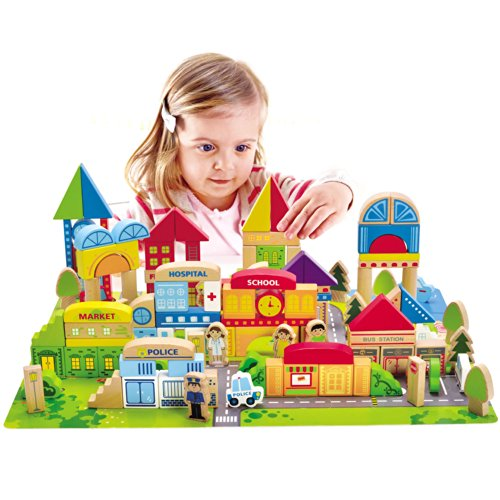Hape-City-Building-Blocks-Colored-Wood-Blocks-with-Playscape