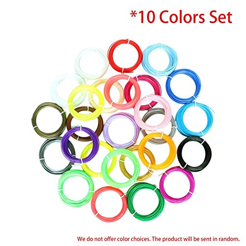Nowakk 3D Printing Pen Filament Set, 10 Colors, 1.75mm Diameter, ABS Filament, 10M or 5M/Color, 3D Printer Supplies Materials