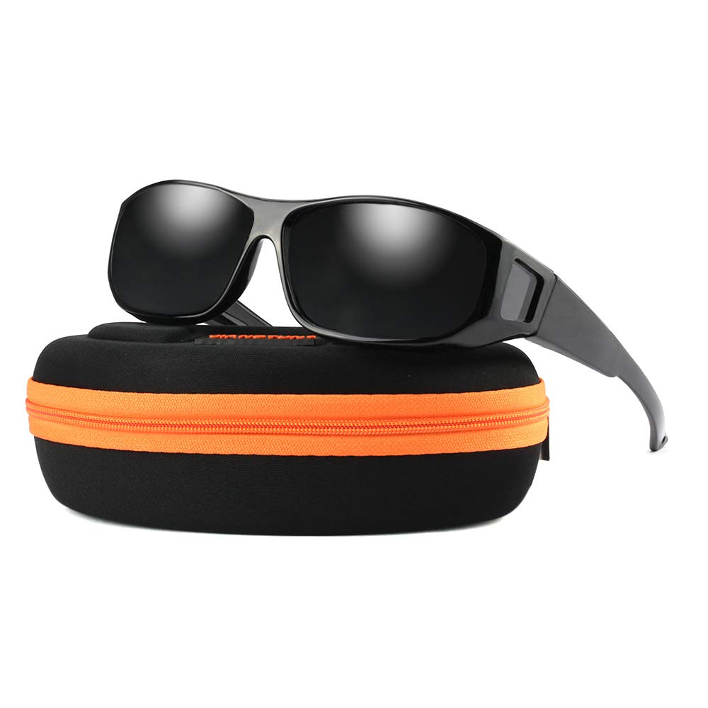 Unisex Wear Over Prescription Sunglasses - Polarized Fit Over Sun Glasses (Bright Black, Grey)