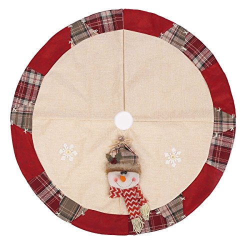 FugouSell Christmas Tree Skirt Mat with Snowman Snowflake Ornaments for Christmas Holiday Party Home Decoration (31.5