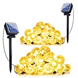 2-Pack Solar String Lights, 20FT 30 LED Crystal Globe Lights with 8 Light Modes, Waterproof Solar Powered Fairy Lights for Outdoor Garden Patio Backyard Xmas Holiday Party Decor, Warm White