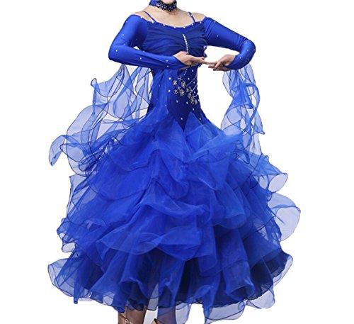 Ballroom Dance Dresses Practise Dance Rhinestone Competition Dresses Modern Waltz Tango Smooth Ballroom Dance Costumes For Women Flamenco Dresses Showcase Dance (Blue,M)