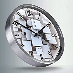 Color Map-Silvery Wall Clock, 12 Inch Silent Non Ticking Quality Quartz Battery Operated Easy to Read Home/Office/School Clock, With Stainless Steel Frame(Mystery Maze,Silver)