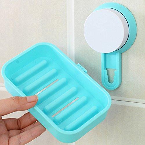 (Coverproof Plastic Soap Case Plastic Clear Cover Box Bathroom Soap Box Holder Case Strong sucker Soap Box-White/Rose Red/Blue/Green-One Piece-Random Color)