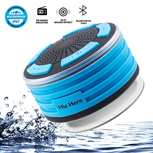 Mix Hero F013 Bluetooth Wireless Waterpoof Bathroom Speaker with FM Radios, LED Mood Light, Suction Cup, Portable Speaker for Shower Kids Home Outdoor Beach Pool Hot Tub (Blue)