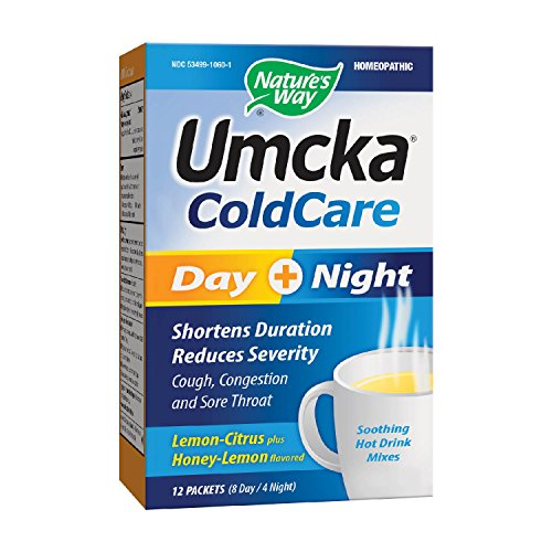 Umcka Coldcare Day Plus Night Hot Drink Packets, 12 Count