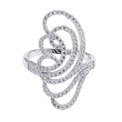 Filigree Swirl Art Deco Ring Round Pave Cubic Zirconia 925 Sterling (Pave Filigree Ring)