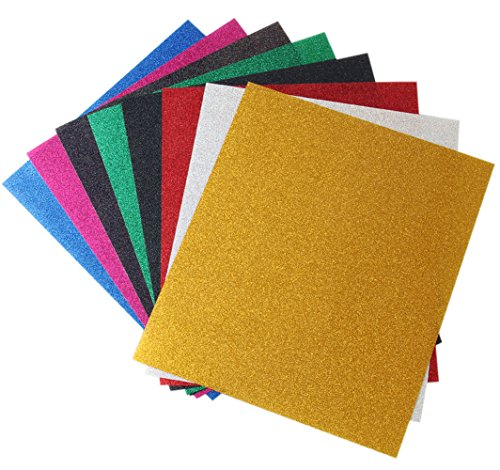 Kenteer Iron on Heat Transfer Vinyl Sheets Glitter HTV for Tshirts 8 Pack 12x10