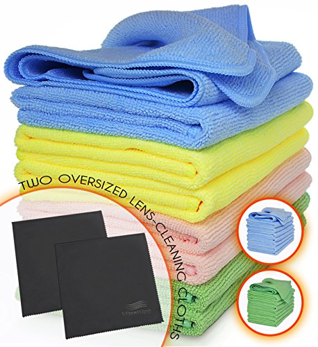 VibraWipe Microfiber Cleaning Cloths, 5-Color Pack, 8 Pieces of All-Purpose Microfiber Cloths and 2 Pieces of Lense Cleaning Cloths. High Absorbent, Lint-Free, Streak-Free
