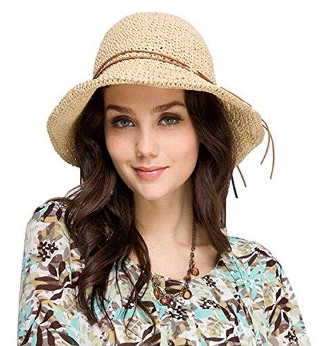 Glamorstar Women's Summer Beach Cap Foldable Braid Sun Straw Hats Rice