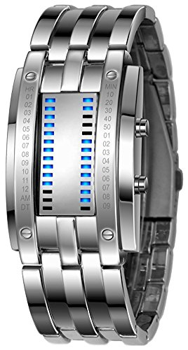 Binary Matrix Blue LED Digital Waterproof Watch Mens Classic Creative Fashion Silver Wrist Watches (Silver Blue)