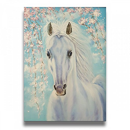 Ale-art Vintage Design Cherry Blossoms White Horse Canvas Paintings Artwork Giclee Canvas Wall Art for Home Office Decorations Living Room Bedroom 16'' X 20''