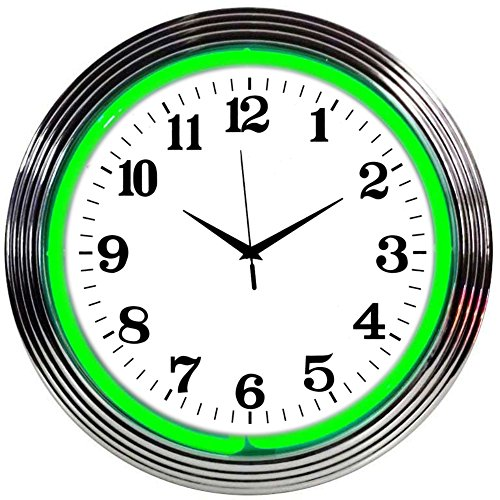 Neonetics Bar and Game Room Neon Alphanumeric Wall Clock with Green Neon and Chrome Rim, 15-Inch (Clock Camaro Neon)