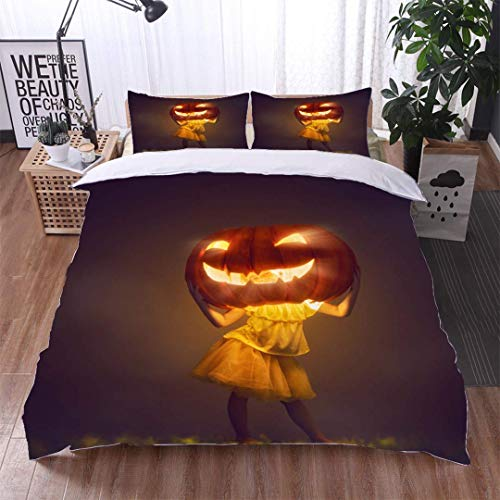(VROSELV-HOME Kids Quilt 3 Piece Bedding Set,Little Witch with a Pumpkin,Soft,Breathable,Hypoallergenic,with Sham and Decorative 2 Pillows,Full Queen )