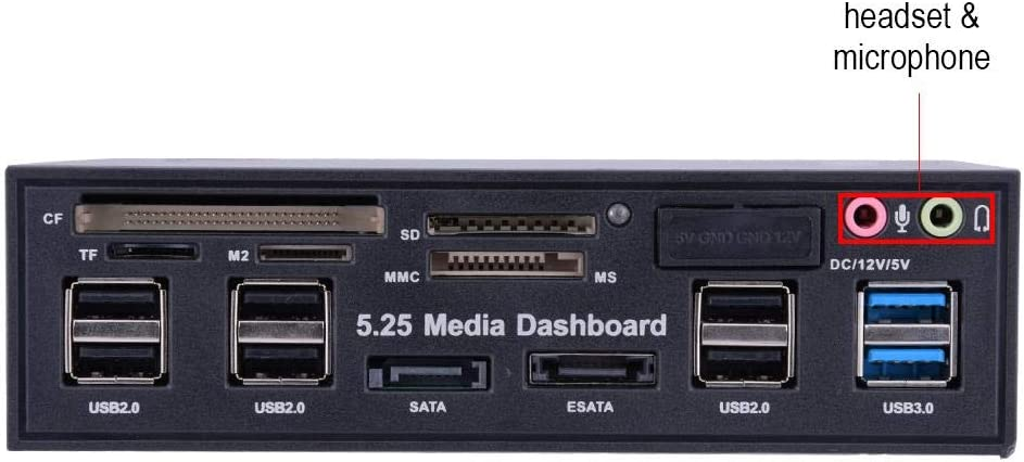 5.25inch Media Dashboard Front Panel USB3.0//2.0 HUB eSATA SATA Audio Multi Card Reader for Computer